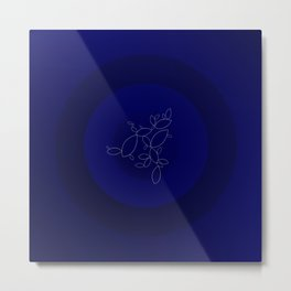 Blue Ornament Cricle Metal Print
