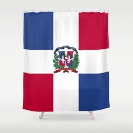 Dominican Republic flag emblem Shower Curtain
