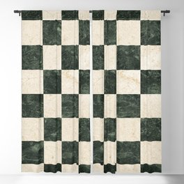 Vintage 64 square checked pattern in B&W marble texture illustration Blackout Curtain