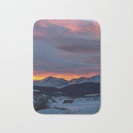Cold Morning, Fiery Sunrise. Colorado Winter. Bath Mat