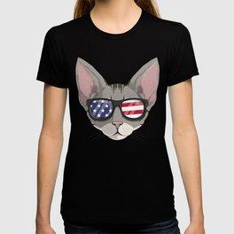 Patriotic Devon Rex Cat Kitty Merica American Flag T-shirt