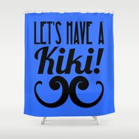 kiki Shower Curtains featuring Let's Have A Kiki! by Alli Vanes