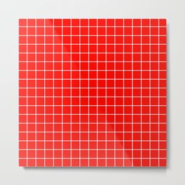 Candy apple red - red color - White Lines Grid Pattern Metal Print