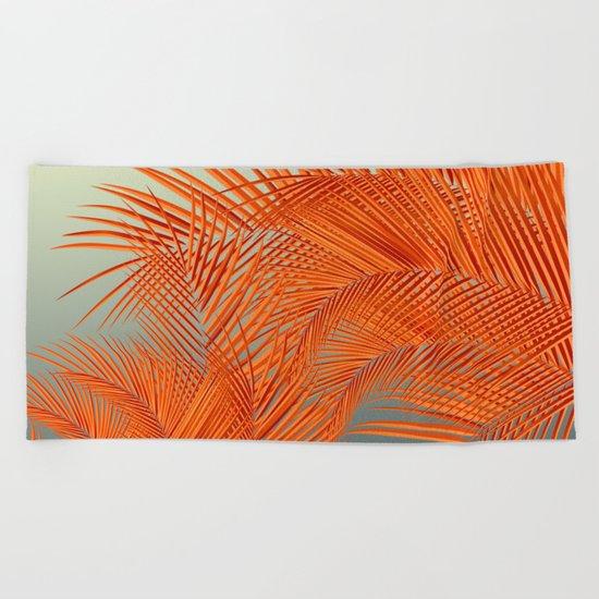 Palm Leaves, Orange Beach Towel