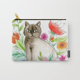 Cat and flowers Carry-All Pouch