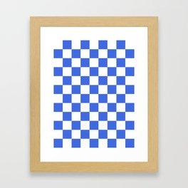 Checkered - White and Royal Blue Framed Art Print