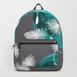 Turquoise Moon white dandelions Backpack