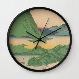 Mountain and Sea Ukiyoe Landscape Wall Clock