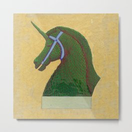 Topiary Horse with Horn Metal Print