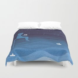 Boy with paper boats, blue Duvet Cover