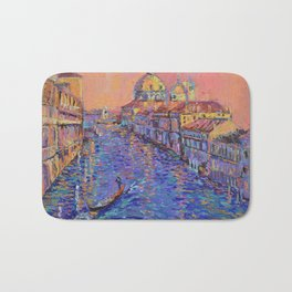 Sunset Over The Grand Canal In Venice -palette knife urban city landscape by Adriana Dziuba Bath Mat