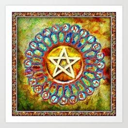 Rune Circle Pentagram Art Print