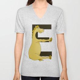 Pony Monogram Letter E Unisex V-Neck