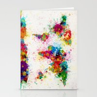 map Stationery Cards featuring Map of the World Map Paint Splashes by artPause