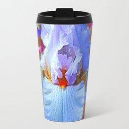 PASTEL IRIS & BLUE  BLUE FLOWERS YELLOW PATTERNS  FLOWERS ART FLOWERS Travel Mug