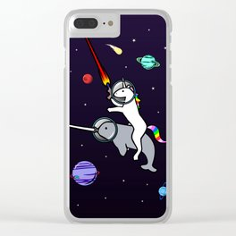Unicorn Riding Narwhal In Space Clear iPhone Case