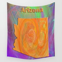 arizona Wall Tapestries featuring Arizona Map by Roger Wedegis