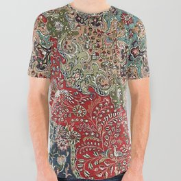 Antique Red Blue Black Persian Carpet Print All Over Graphic Tee