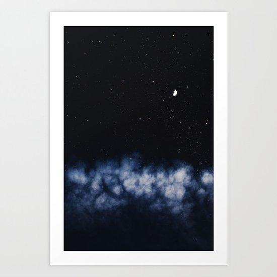 Contrail moon on a night sky Art Print
