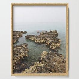 Limestone Geology Island Caves Beach Playa Cuba Caribbean Ocean Landscape Seascape Tropical Island M Serving Tray