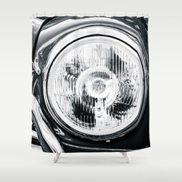 Headlight Of A Vintage Car Black White Shower Curtain