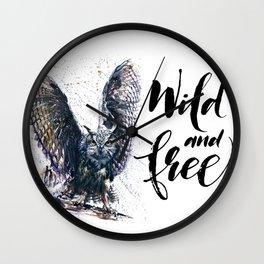 Owl wild & free Wall Clock