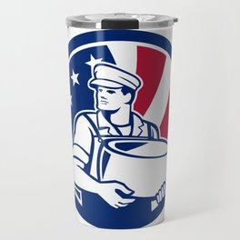 American Artisan Cheese Maker USA Flag Icon Travel Mug