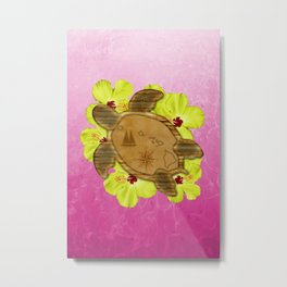 Honu Hawaiian Map Metal Print