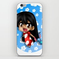lilo and stitch iPhone & iPod Skins featuring Lilo and Stitch (chibi) by HaruShadows