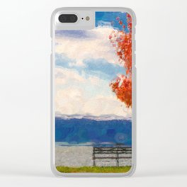 Red Tree and Bench Clear iPhone Case