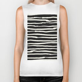 Hand Drawn Stripes on Black Biker Tank