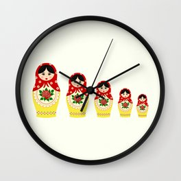 Red russian matryoshka nesting dolls Wall Clock