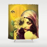 sunflower Shower Curtains featuring SUNFLOWER by Julia Lillard Art