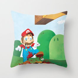 Mario Mess Throw Pillow