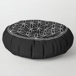 Flower of life on black Floor Pillow