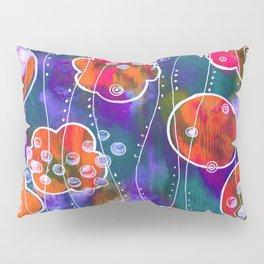 Flower Circles Red Pattern Pillow Sham