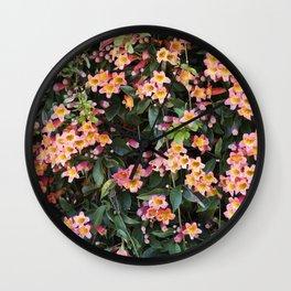 Tangerine Beauty Cross Vine Flowers Wall Clock