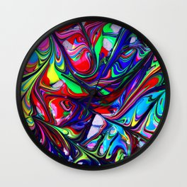 Multicolored Abstract Expressionism Swirl Artwork Wall Clock