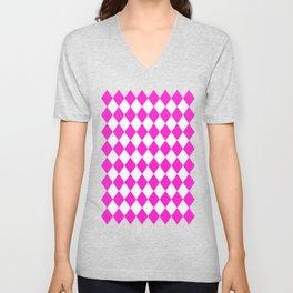 Rhombus (Hot Magenta/White) Unisex V-Neck