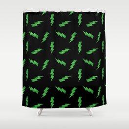 Green Glitter Lightning Bolts in Black Shower Curtain