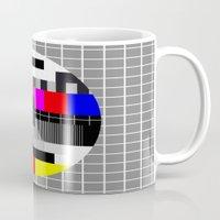 tv Mugs featuring TV by Les Hameçons Cibles
