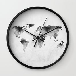 World Map - Hammered Metallic Monochrome Wall Clock