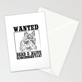 Wanted Schrodinger s cat Black OutLine Stationery Cards