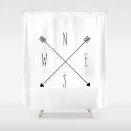 Compass - North South East West - White Shower Curtain