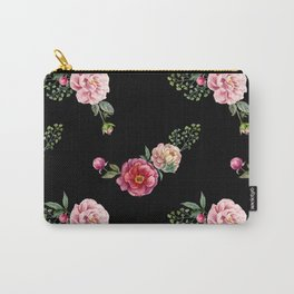 Pink Flora with Green Leaves Pattern Flower Carry-All Pouch