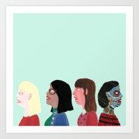 women Art Prints featuring women by Alejandra Hernandez