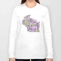 wisconsin Long Sleeve T-shirts featuring Wisconsin in Flowers by Ursula Rodgers
