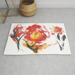 Abstract Fire Flower Acrylic Drawing Rug