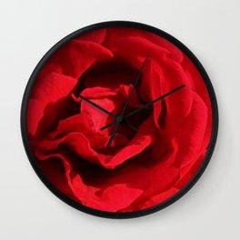 Red Rose Flower Macro Wall Clock