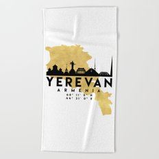 YEREVAN ARMENIA SILHOUETTE SKYLINE MAP ART Beach Towel